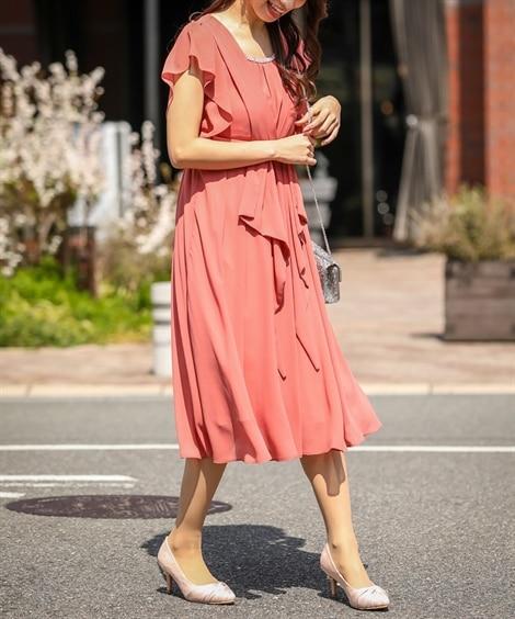 <ニッセン>タック&リボンが上品可愛いミモレ丈ワンピース 【結婚式・二次会・謝恩会・パーティ】