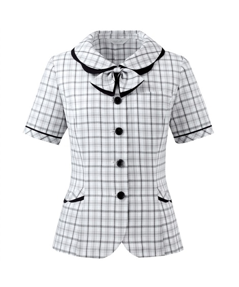 【Pieds】HCL6020 チェック柄リボン付きオーバーブラウス(吸汗速乾・UVカット) 事務服, women's suits,  plus size women's suits