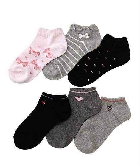 女の子 綿で作ったやさしいショートソックス6足組 キッズ靴下...