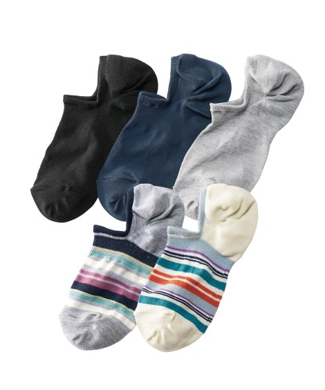ココピタ 脱げにくい超深履きスニーカーカバーソックス さらさらドライ5足組(フリーサイズ) カバーソックス, Socks