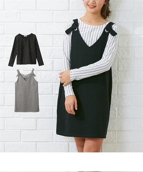c6644e5e7c72b 黒+オフホワイト  2点セット(ジャンスカ+Tシャツ)(女の子 子供服・ジュニア服) ...