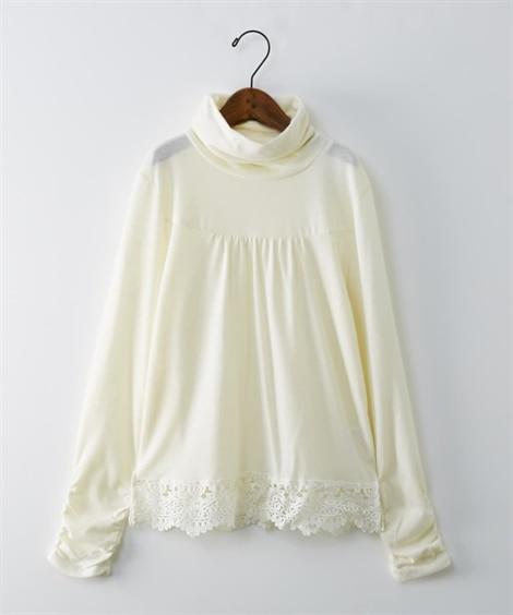 裾レース付シャーリングプルオーバー (Tシャツ・カットソー)...