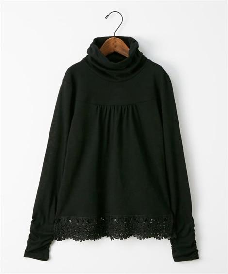 裾レース付シャーリングプルオーバー (Tシャツ・カットソー)