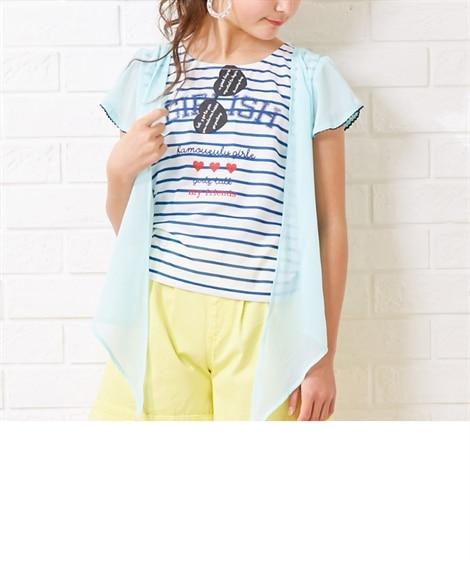7cd70ca1904b0 紺  重ね着風Tシャツ(女の子 子供服・ジュニア服)(Tシャツ ...