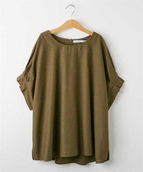 麻混素材タック袖ブラウス(吸汗速乾。抗菌防臭) (ブラウス)