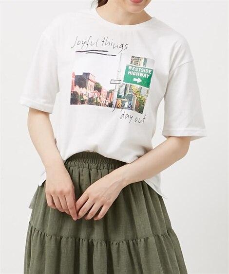 フォト風プリント前後付Tシャツ (Tシャツ・カットソー)(レ...
