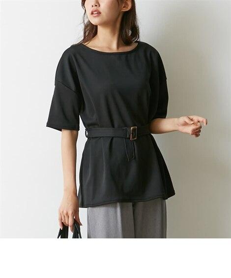 ベルト付ロングトップス (Tシャツ・カットソー)(レディース...