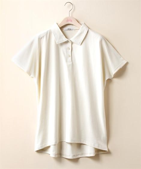 【大きいサイズ】 綿100%ドルマン鹿の子ポロチュニック p...
