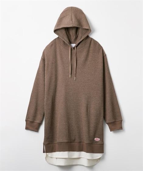 ワッフル素材裾重ね着風パーカーチュニック (トレーナー・スウ...