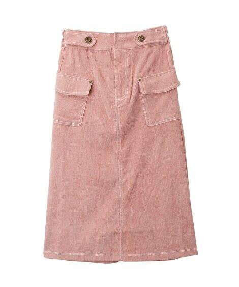 コーデュロイ配色ステッチタイトスカート(女の子 子供服。ジュ...