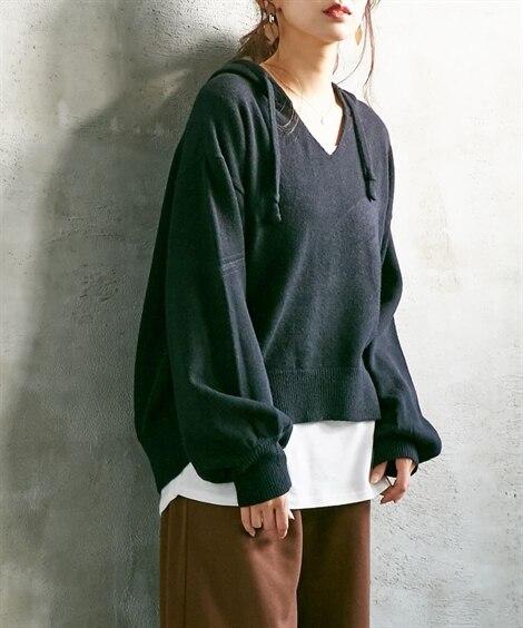 【春まで使える!】フード付パーカーニット (ニット・セーター...