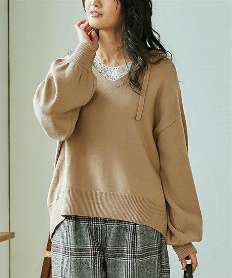 ふんわり袖 ニットパーカーセーター (はおりもの)(レディー...