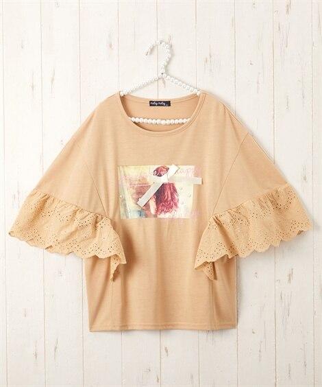 コットンレース切替Tシャツ(女の子 子供服。ジュニア服) (Tシャツ・カットソー)Kids' T-shirts