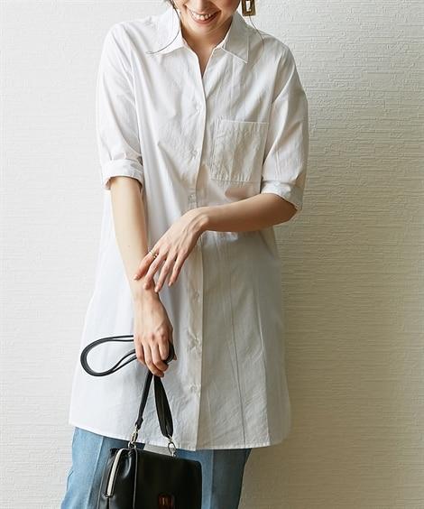 サイドスリットシャツチュニック (ブラウス)Blouses, Shirts, テレワーク, 在宅, リモート