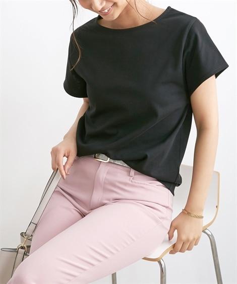 【お仕事Tシャツ】ひんやりさらっと素材♪後ろタックプルオーバー (Tシャツ・カットソー)(レディース)T-shirts, テレワーク, 在宅, リモート