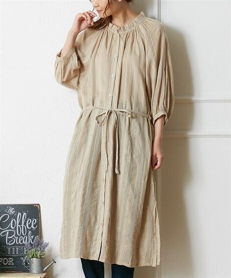 インド綿 ドビーシャツワンピース (ワンピース)Dress
