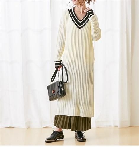 【産前・産後 授乳服】a.i.n あったかリブニットラインVネックマタニティワンピース (マタニティウエア・授乳服) Maternity clothing