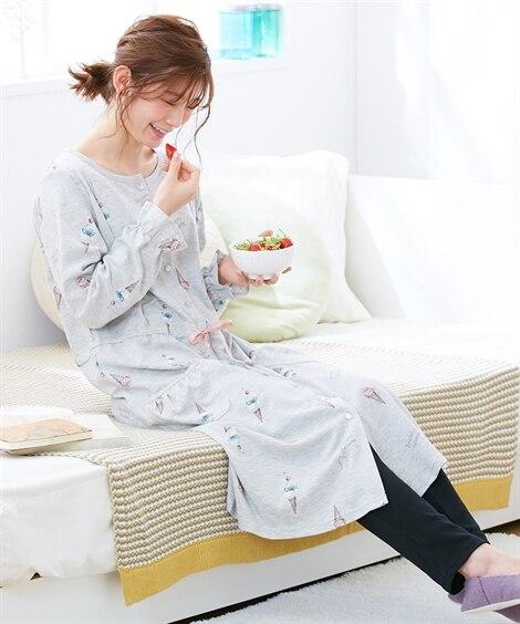 【産前・産後 授乳服】mutti ei ネグリジェ・上下パジャマにもなる カットソー前開きアイスプリント2WAYパジャマ (マタニティウエア・授乳服) Maternity clothing
