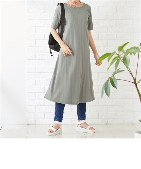 【産前・産後 授乳服】a.i.n ランダムリブマタニティフレアアワンピース (マタニティウエア・授乳服) Maternity clothing