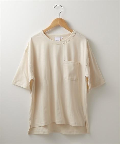 接触冷感 ポケット付Tシャツ (Tシャツ・カットソー)(レディース)T-shirts,