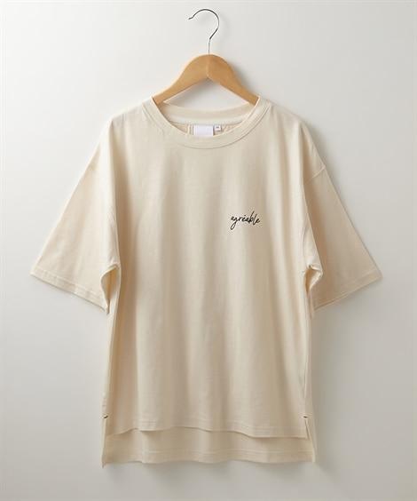接触冷感 ドロップショルダーTシャツ (Tシャツ・カットソー)(レディース)T-shirts,