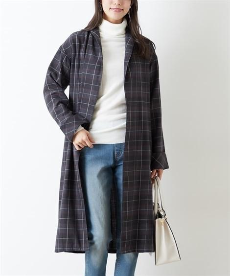 さっと羽織れる♪チェック柄ガウンシャツ (コート)(レディー...