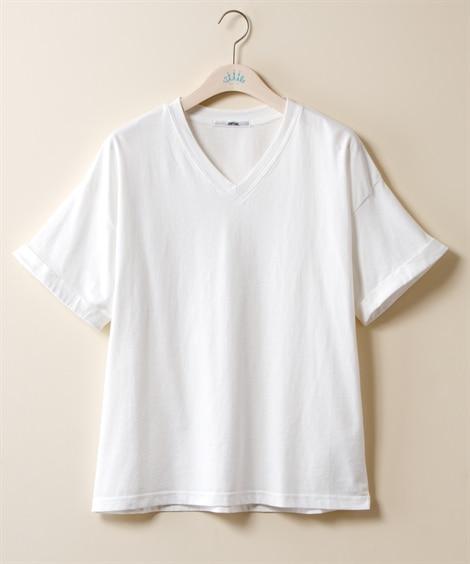 綿100% ベーシックVネックTシャツ (大きいサイズレディ...