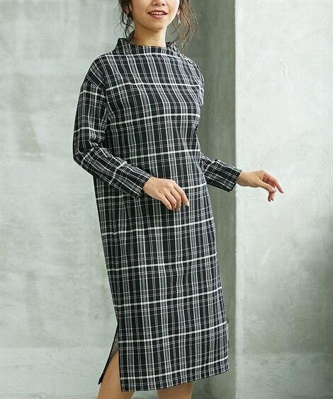 小さいサイズ 裾スリット肩ボタンワンピース 【小さいサイズ・...