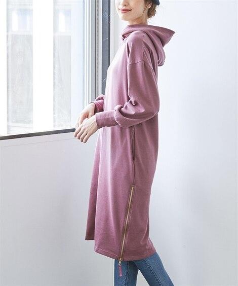 裏毛サイドジップフードチュニックワンピース (大きいサイズレ...