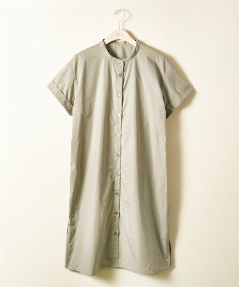 【大きいサイズ】 バンドカラーサイドスリットチュニックワンピース ワンピース, plus size dress
