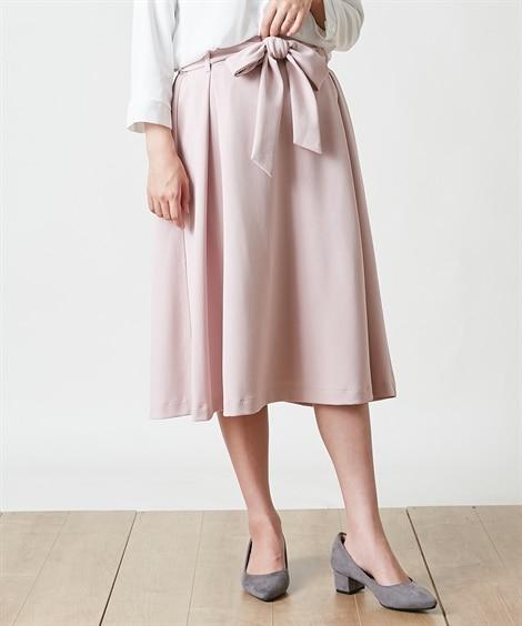大きいサイズ ウエストリボンフレアスカート。大人の落ち感シリーズ。 ,スマイルランド, スカート, plus size skirts