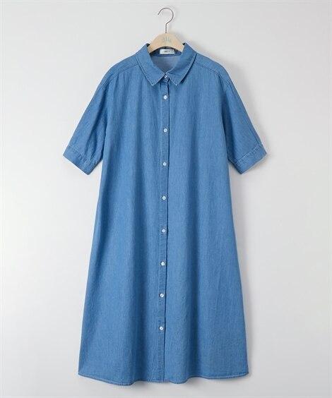 大きいサイズ デニムテントラインガウンワンピース ,スマイルランド, ワンピース, plus size dress