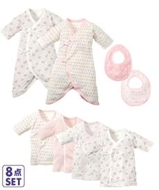b6531cf14e5a5 新生児8点セット(短肌着4枚+コンビ肌着2枚+リバーシブル