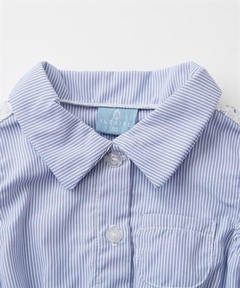 a2f8d799a0627 バックスタイル  衿付きブラウス重ね着風半袖ロンパース(女の子 子供服・ベビー服)(