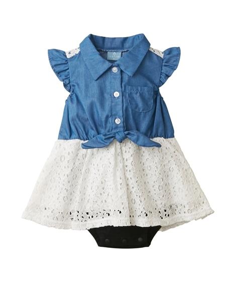 衿付きブラウス重ね着風半袖ロンパース(女の子 子供服。ベビー...