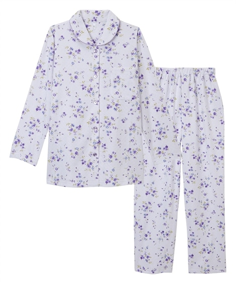 【WEB限定】肌側綿100%キルトフラワー柄前開き長袖シャツパジャマ (パジャマ・ルームウェア)Pajamas
