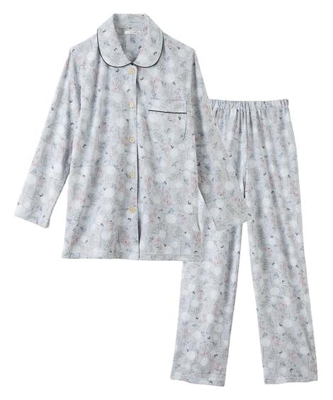 綿100% 花&ネコ柄前開きシャツパジャマ(M) (パジャマ・ルームウェア)Pajamas