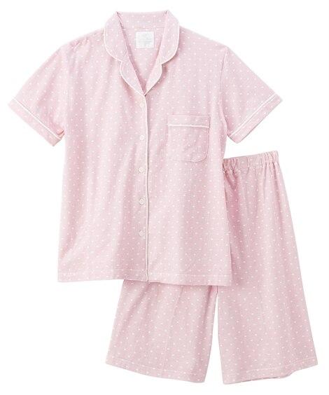 【WEB限定】千鳥ドット柄半袖前開きシャツパジャマ (パジャ...