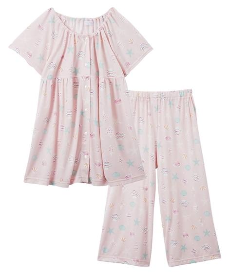 前開きシェル柄スモック半袖ルームウェア上下セット(L) (パジャマ・ルームウェア)Pajamas