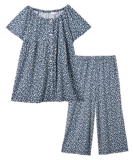 前開き小花柄スモック半袖ルームウェア上下セット(L) (パジャマ・ルームウェア)Pajamas