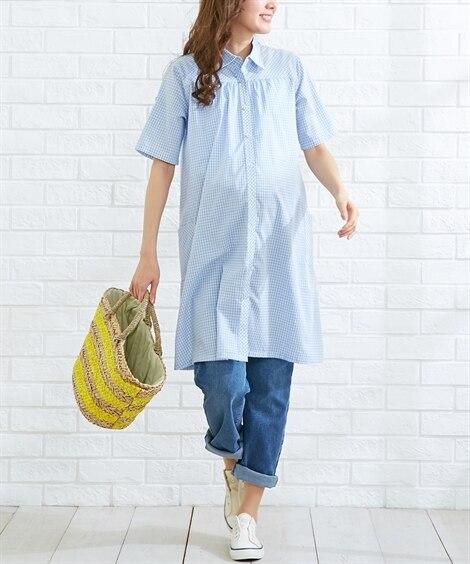 【産前 産後 授乳服】袖がロールアップできる前開きマタニティシャツチュニックワンピース (マタニティウエア・授乳服) Maternity clothing