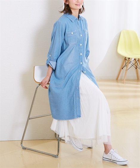 【産前。産後 授乳服】はおりものにもなる!袖のロールアップで春から秋まで活躍!マタニティ前開きデニムシャツワンピース (マタニティウエア・授乳服) Maternity clothing