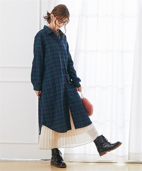 【産前。産後 授乳服】袖がロールアップできるビエラ起毛前開きマタニティシャツワンピース (マタニティウエア・授乳服) Maternity clothing