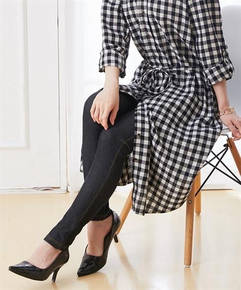 【産前】デニムニットマタニティレギンス(ウエスト調節可) (マタニティウエア・授乳服) Maternity clothing