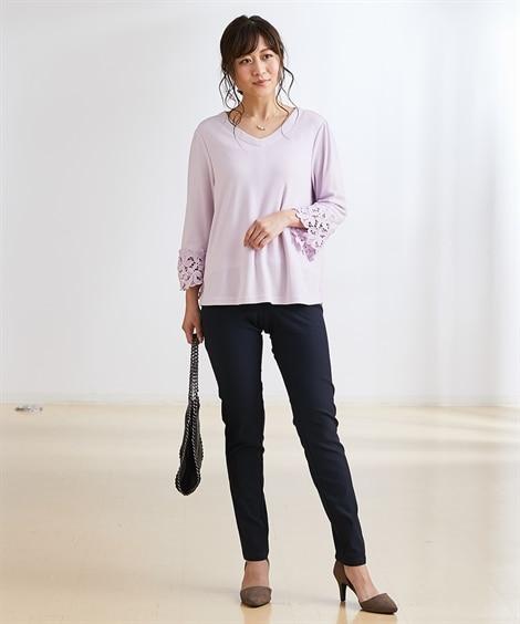 【産前・産後 授乳服】7分袖 袖口レースマタニティプルオーバー (マタニティウエア・授乳服) Maternity clothing