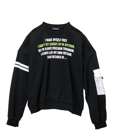 袖異素材ポケット付き綿100%ビッグシルエットプリントトレーナー(女の子 子供服・ジュニア服) (トレーナー・スウェット)Kids' Sweatshirts