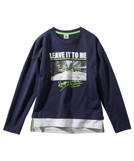 綿100%裾フェイク フォト柄プリント長袖Tシャツ(子供服 男の子 ジュニア服) (Tシャツ・カットソー)Kids' T-shirts