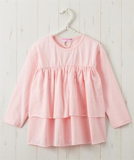 綿100%2段フリルTシャツ(女の子 子供服・ジュニア服) (Tシャツ・カットソー)Kids' T-shirts
