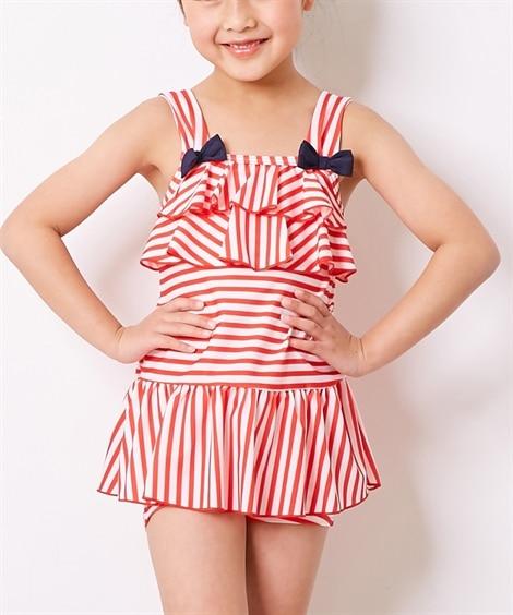 胸フリルワンピース水着(女の子 子供 水着) ファッション水...
