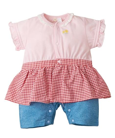 フェイクスカート付き半袖カバーオール(女の子 子供服。ベビー...